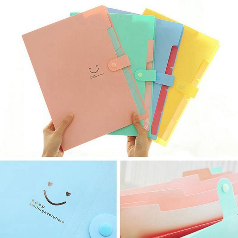 ABKT-Plastic Expanding File Folders Accordion Document Organizer 5-Pocket A4 Letter Size For School And Office
