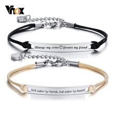 Vnox-Pulseras personalizadas con temperamento para mujeres y hermanas, acero inoxidable ajustable con colgante de corazón, joyería elegante BFF, regalo