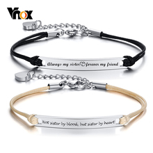 Vnox Temperament Personalized Bracelets for Women Sisters Adjustable Stainless S
