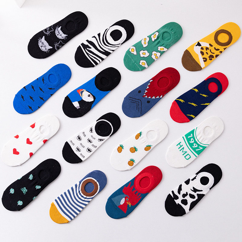 1 Pair Colorful Women Men's Cotton Ankle Socks Invisible Low Cut Summer Casual Breathable Short Unisex Cool Funny Socks