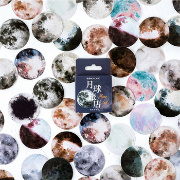 46 pcs /Box Fantastic Moon Planets Decorative Adhesive Stickers DIY Scrapbooking Photo Sticker - discount item  18% OFF Stationery Sticker