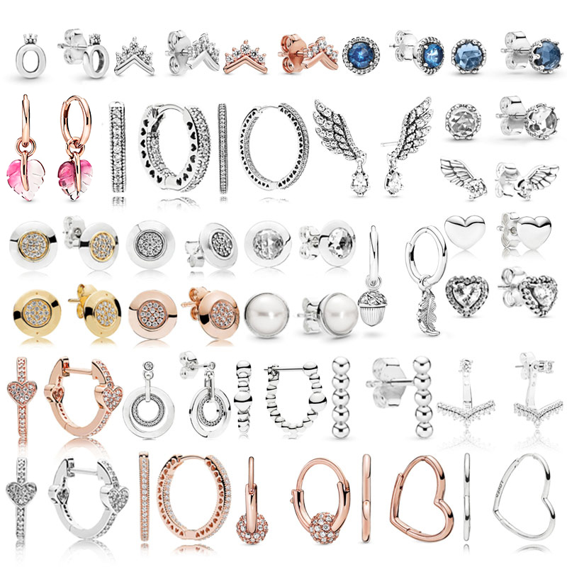 High Quality 925 Sterling Silver Pandoras Fashion Earrings With Original Stenciled Wedding Party Evening Woman Jewelry Gift