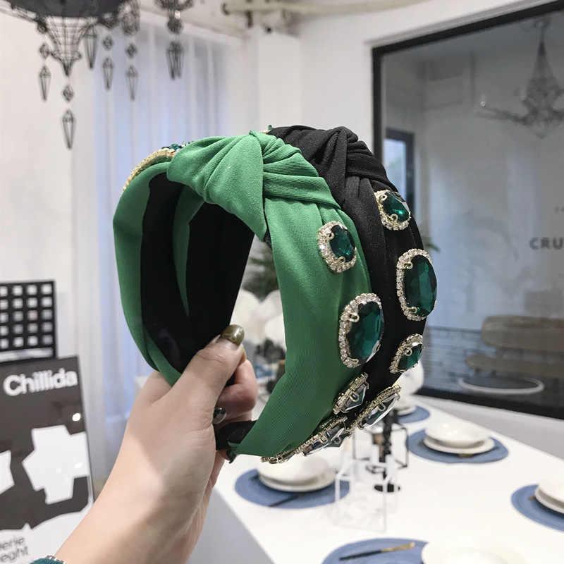 Knoop Hoofdbanden Voor Vrouwen Eenvoudige Stof Meisjes Haarband Vrouwen Haaraccessoires Brede Zijde Haarband Vintage Emerald