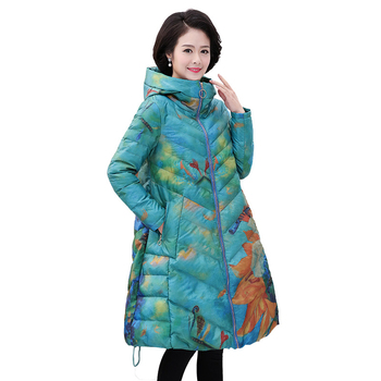 Large size 4XL Middle-aged Women Long Parkas 2020 Winter Loose Cotton Jacket Female Long-sleeved Hooded Warm Print Coats FC094