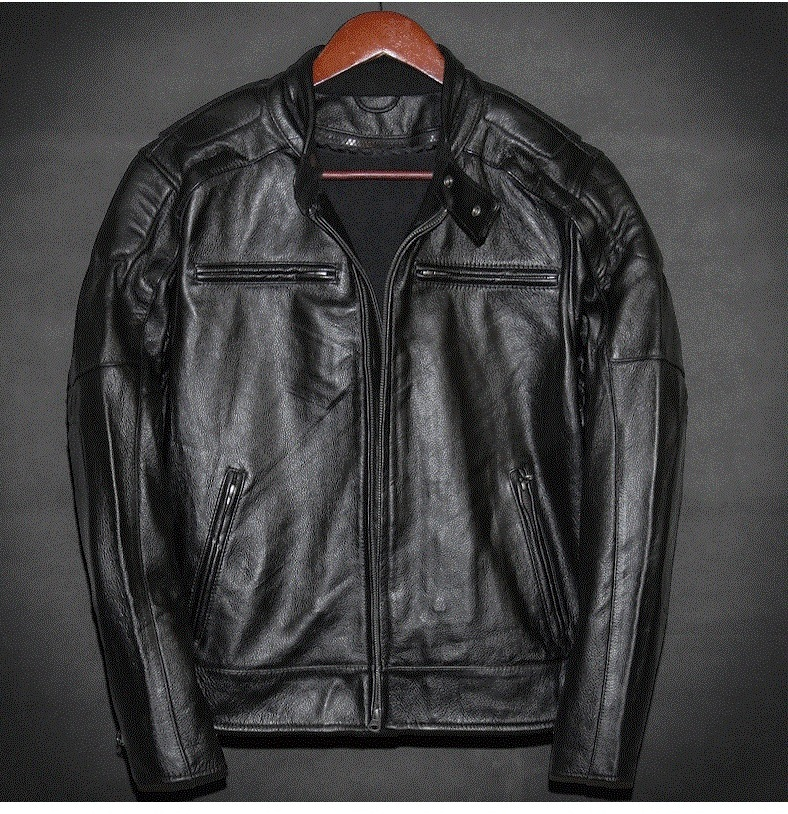 Free Shipping.Plus Size Brand Classic Motor Cowhide Jacket Man,100% Genuine Leather Jacket,vintage Quality Men Coat