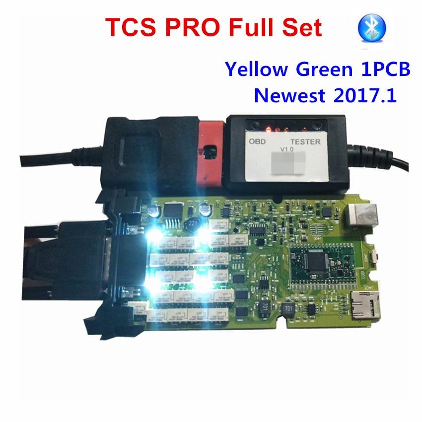 OBDIICAT-herramienta de diagnóstico TCS 2017,1, tablero único verde y amarillo + relés genéricos 3 en 1, Bluetooth 2016,00
