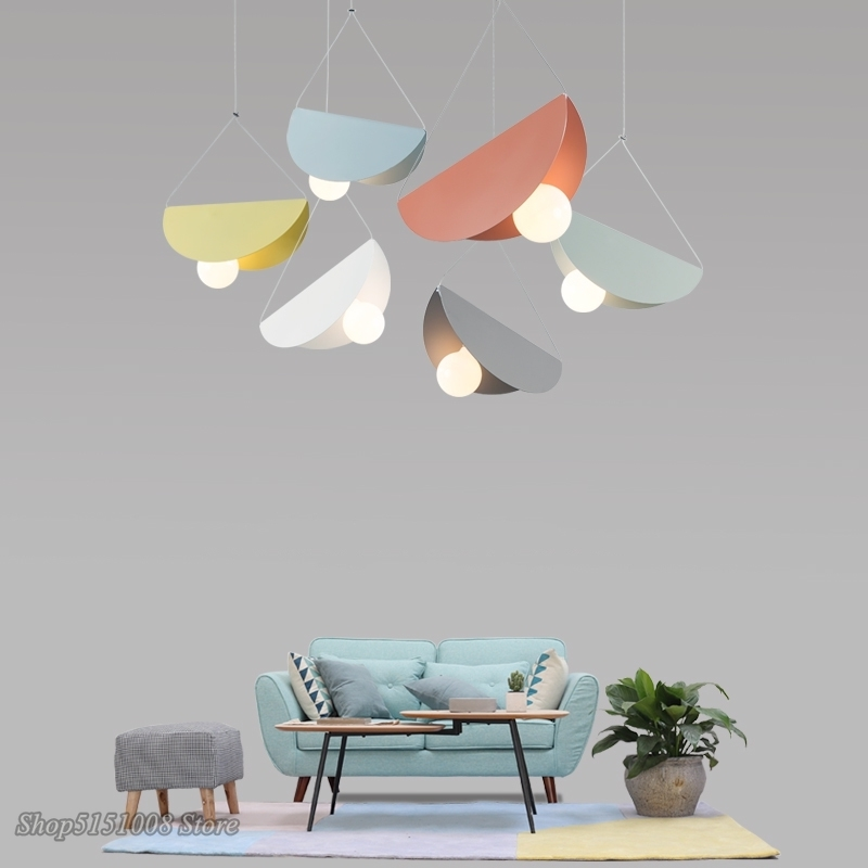 Modern LED Pendant Lights Nordic Creative Color Iron Pendant Lamps Geometric Dining Room Bedroom Children's Room Decor Fixtures