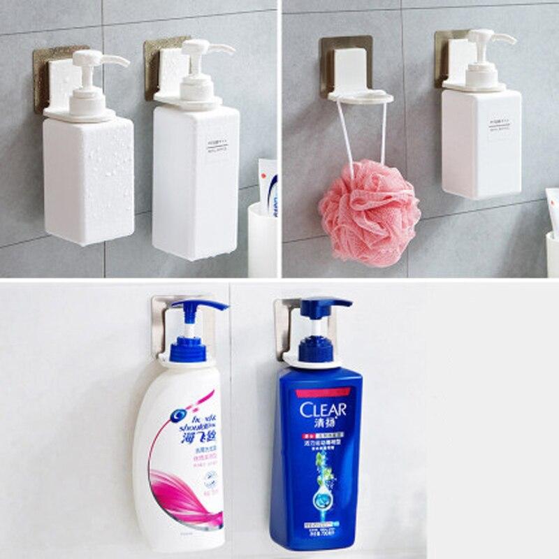 Self-Adhesive Shampoo Bottle Shelf Wall Mounted Liquid Soap shower gel Organizer Hook Holder Shelves Hanger Bathroom Accessories