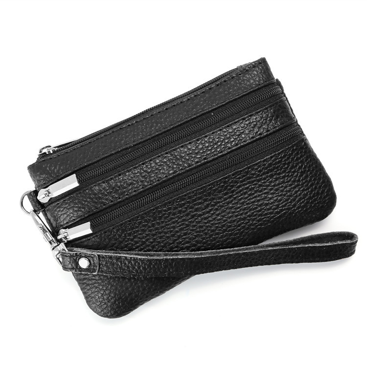 Europe And America Hot Selling Genuine Leather Purse WOMEN'S Key Bag Multi-functional Wallet Cowhide Coin Wrist Wrap Manufacture