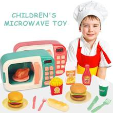 Play House Toys For Children Microwave Oven Toy Oven Play House Cooking Kitchen Set Electric Timing Simulation Kitchenware Gift(China)
