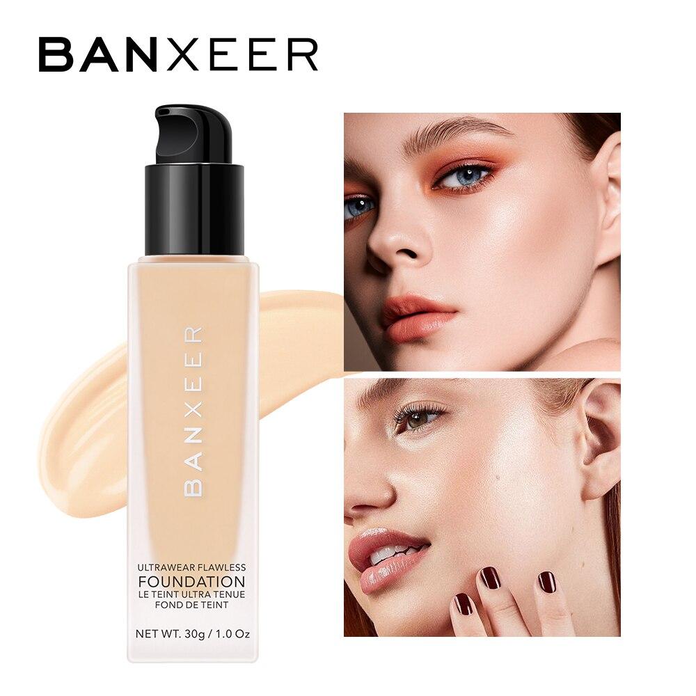 banxeer essencia fundacao liquida sedosa suave base maquiagem poros cicatriz cobertura completa pele branca preta rosto