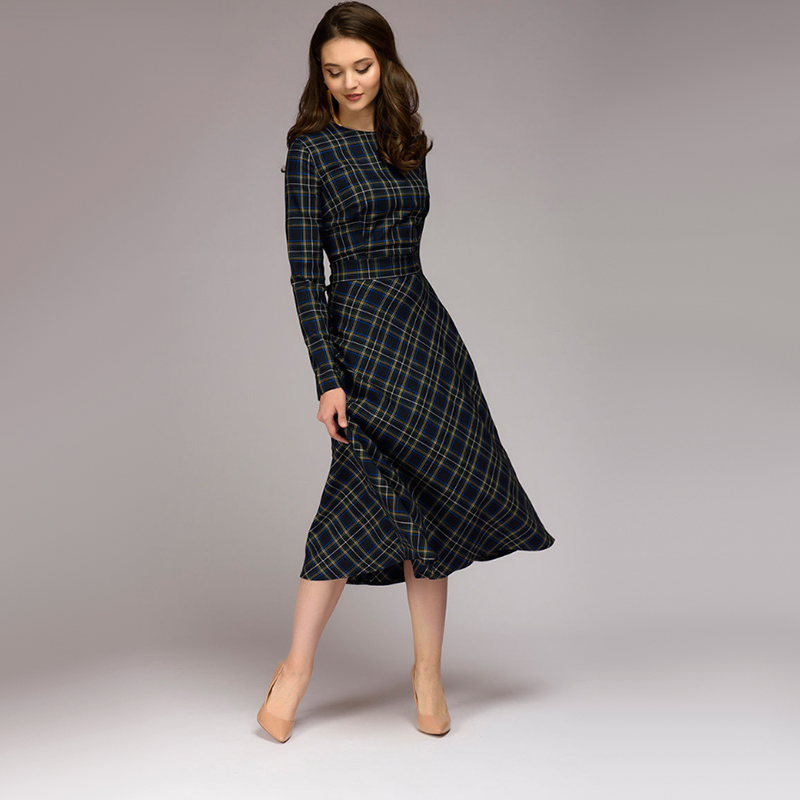 Women Vintage Sashes Plaid Dress Ladies Long Sleeve O Neck Elegant A Line Dress 2019 Autumn Bow Tie Party Dress Winter Dress