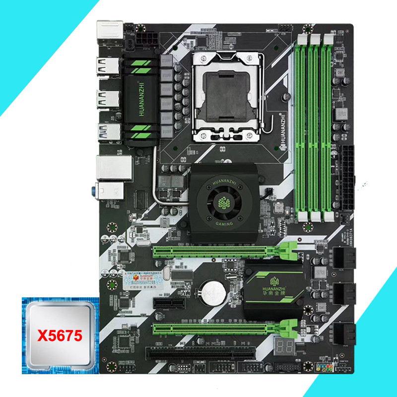 HUANANZHI X58 Deluxe LGA1366 Motherboard With CPU Intel Xeon X5675 3.06GHz Discount Motherboard Bundle Quality Guarantee