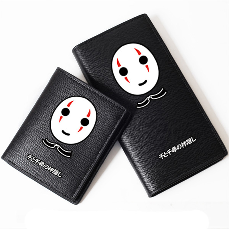 High Quality Spirited Away Black No Face Mask Printing Long Wallet Pu Leather Anime Purse Cartoon Card Holder Carteira Pouch