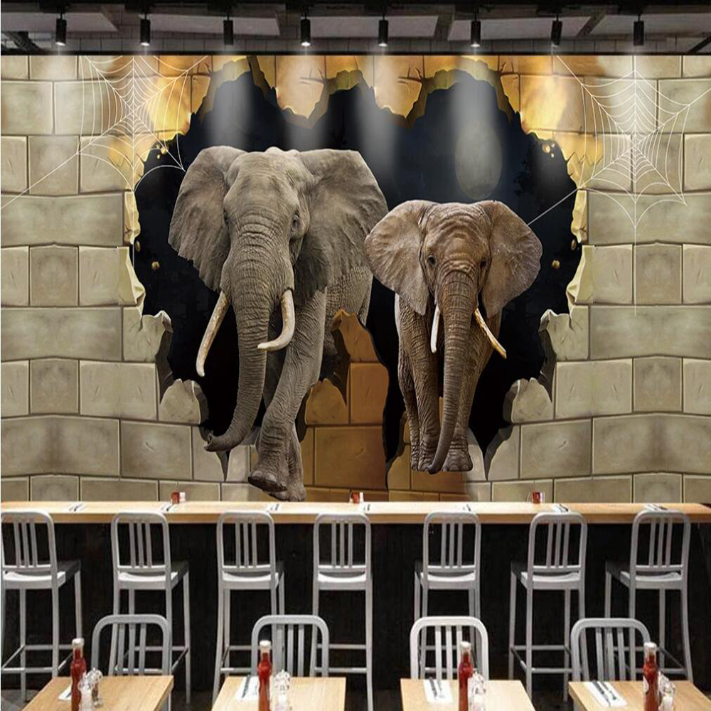 Dropship Custom Large 3D Wallpaper Mural Elephant Broken Wall Decoration Painting Background Wall Painting Wallpaper