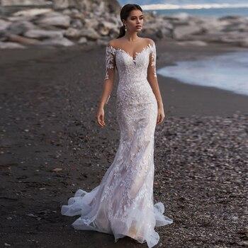Vestido de novia tipo sirena de manga larga y cuello redondo, vestido...