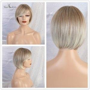 Image 5 - ALAN EATON krótkie falowane syntetyczne peruki mieszane brązowe srebrne włosy peruki z bocznymi grzywkami dla czarnych kobiet Afro włókno termoodporne