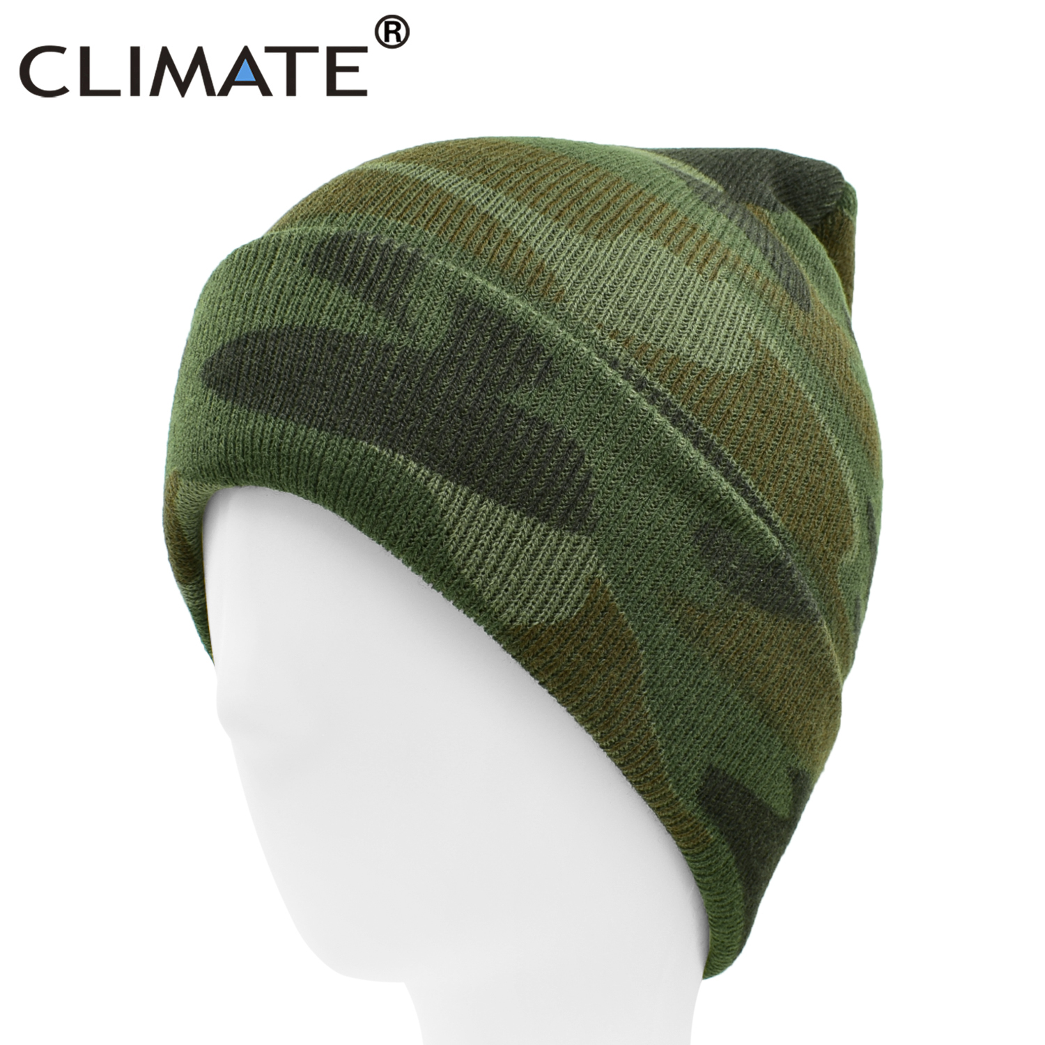 CLIMATE Camouflage Beanie Hat Men Beanies Men Winter Warm Hats Beanies Camou Hat Military Army Cool Knitted Beanie Hat For Men