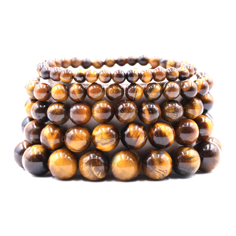 Classic Natural Stone Black Lava Tiger Eye Strand Bracelet 6mm/8mm/10mm Beaded Men Buddha Bracelets For Women Yoga Jewelry Homme