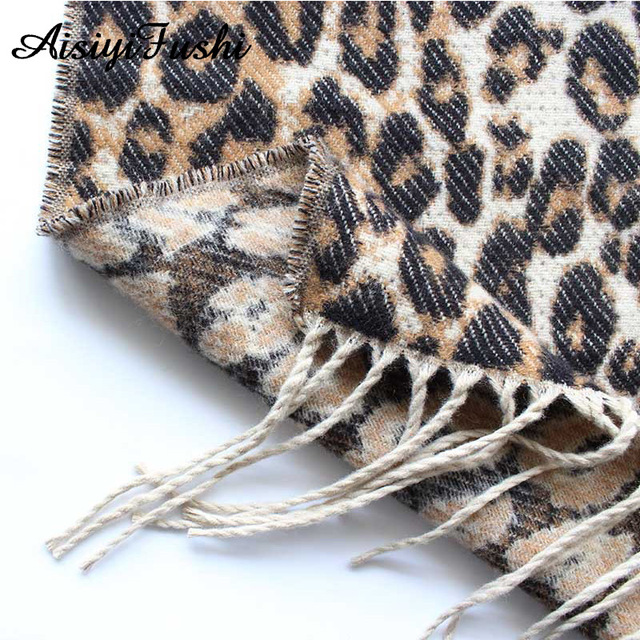 Brown Poncho Leopard Femme Winter Blanket Scarf Warm Soft Cashmere Thicken Long Ladies Tassel Scarves Women 2020 Poncho Foulard 6