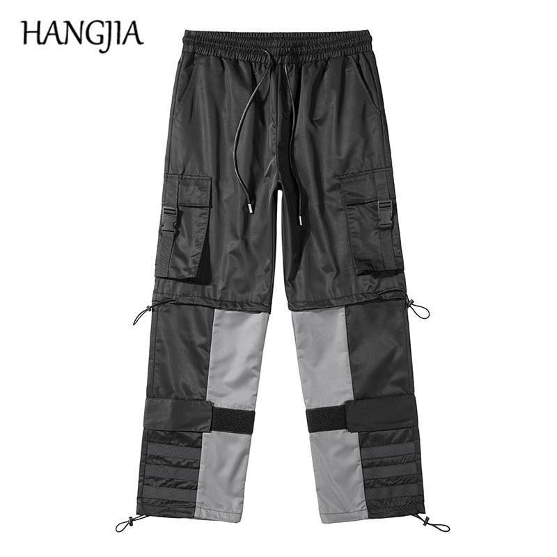 Hommes Hip Hop Harem Cargo pantalons de survêtement Streetwear cheville noyau reliure Cargo pantalon hommes femmes Velcro sangle fermeture pantalons décontractés