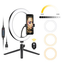 Neewer 10-inch usb led telefone anel de luz com tripé, 3 modos de luz/10 nível de brilho para youtube tiktok vídeo