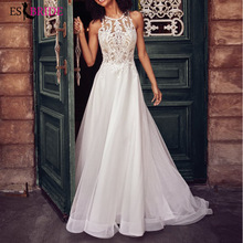 White Elegant Formal Dress Women Lace Appliques Sleeveless 2019 Evening Party ES2624