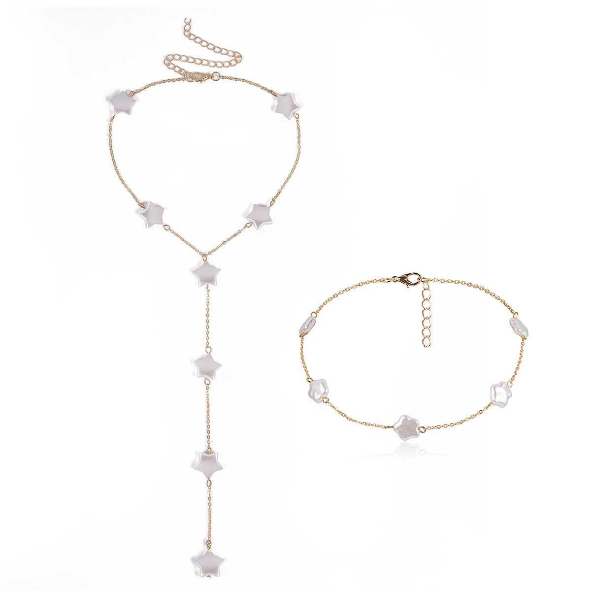 SHIXIN élégant pentagramme Collier ras du cou pour les femmes Simple longue chaîne en or Collier étoile coréen bijoux à la mode fille Collier Femme