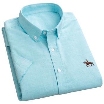 AOLIWEN mężczyźni 100 bawełna Oxford jednokolorowa koszulka z krótkim rękawkiem S-6XL lato w stylu Casual z haftami Logo oddychająca miękka szczupła koszula typu Slim tanie i dobre opinie CN (pochodzenie) COTTON KOSZULE CODZIENNE SHORT Wykładany kołnierzyk Jednorzędowe REGULAR 2LLK-LM5-GC4-D Na co dzień