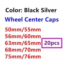 50mm 55mm 56mm 60mm 63mm 65mm 68mm 70mm 75mm 76mm 20 pçs preto prata centro da roda do carro tampões do cubo emblema auto jantes tampas capa logotipo
