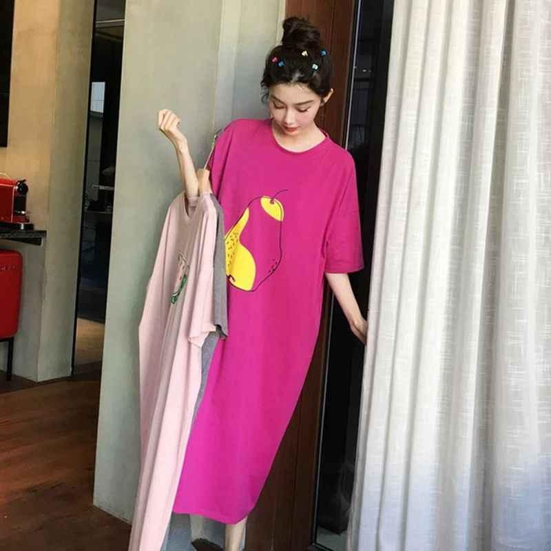 Ropa de dormir holgada de verano para mujer, de gran tamaño, de dibujos animados, de manga corta, camisón fino con estampado de frutas, camisón de tamaño grande