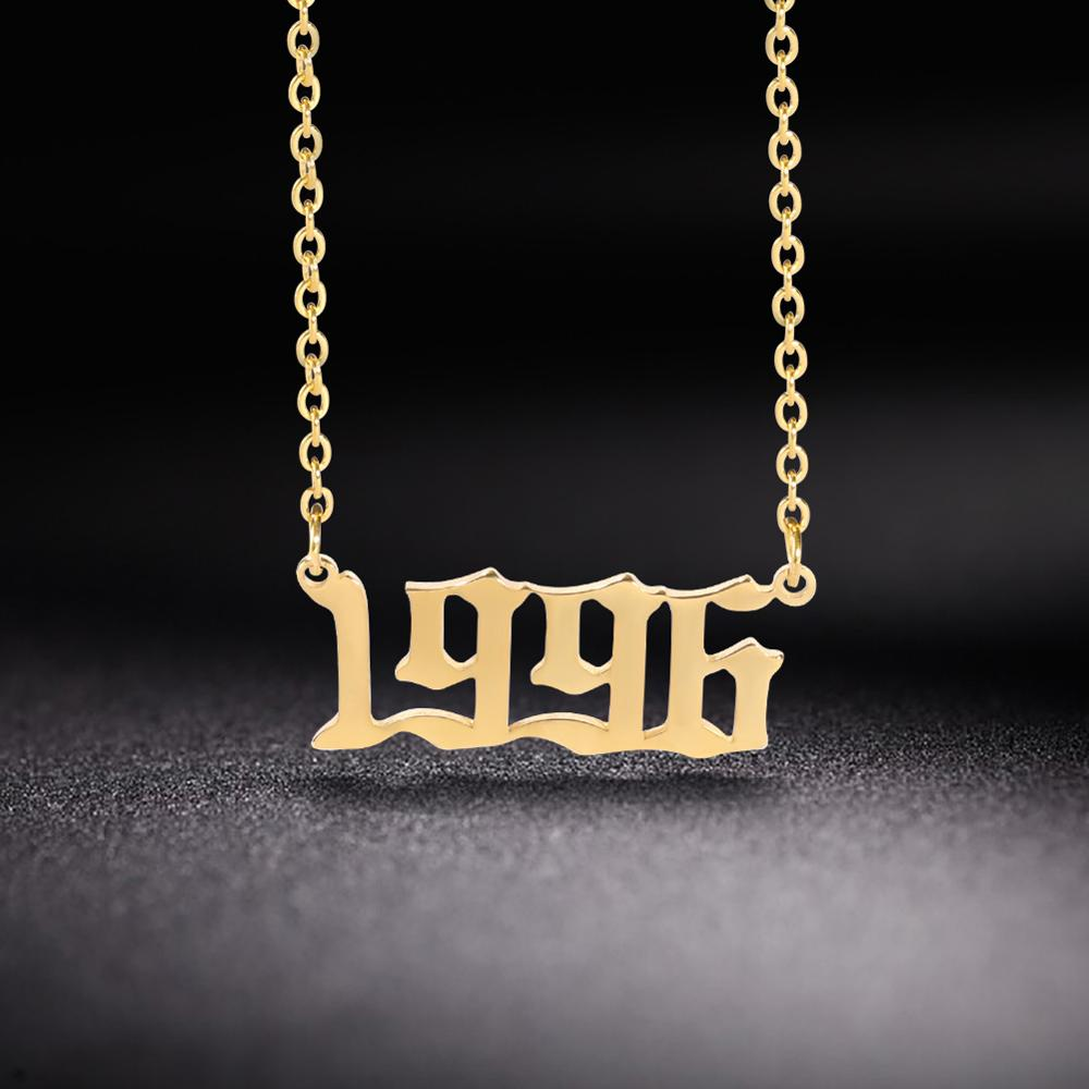 Lemegeton Personalized Custom Year Number Necklace Special Date Necklace For Women 1980-2020 Collares Necklaces Jewelry