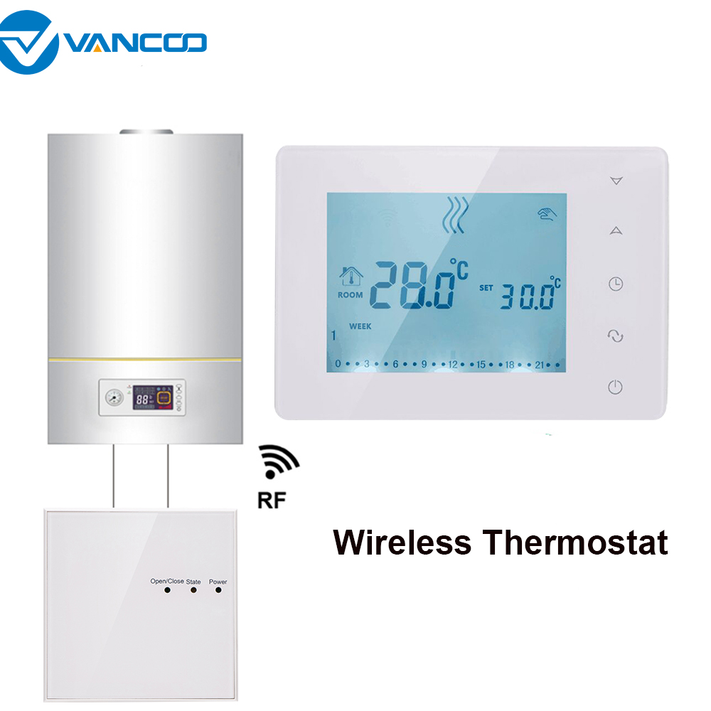 Vancoo RF Wireless Digital Thermostat Wall-hung Gas Boiler Heating Weekly Programmable Temperature Controller Batteries Powered