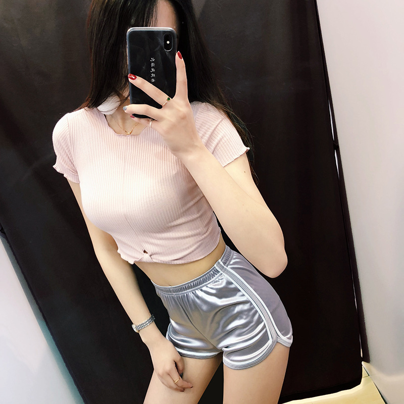High Waisted Women Shorts Summer Slim Silk Fit Elastic Booty Shorts Casual Hot Sexy White Edge Shorts Pantalon Femme