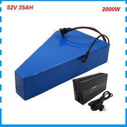 2000W 52V 35AH triangle batterie pack 14S 52V lithium ebike bateria akku utiliser samsung 3500mah cellule avec sac gratuit 58.8V 5A chargeur