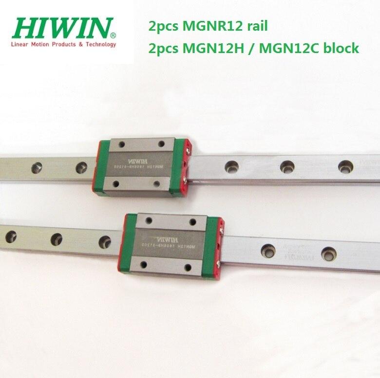 2pcs Original Hiwin Rail MGNR12 -L 200mm /300mm /330mm/  400mm / 500mm / 550mm + 2pcs MGN12H / MGN12C Blocks