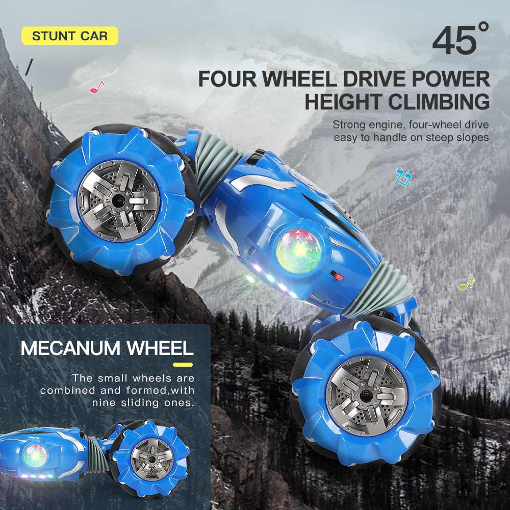 سيارة RC حيلة 4WD كبيرة الحجم سيارة تحكم عن بعد استشعار لفتة التحكم السيارات على الطرق الوعرة سيارة مزدوجة الجانب القيادة حيلة سيارة للأطفال