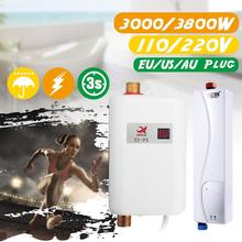 110/220V 3800W Tankless Electric Water Heater Bathroom Kitchen Instant Water Heater Temperature display Heating Shower Universal(China)