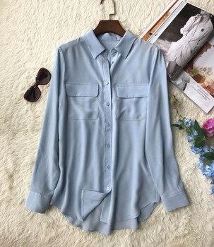 Women Shirts 100% Silk Long Sleeve Pockets Double Haut Femme Blouse Woman New 2019 1
