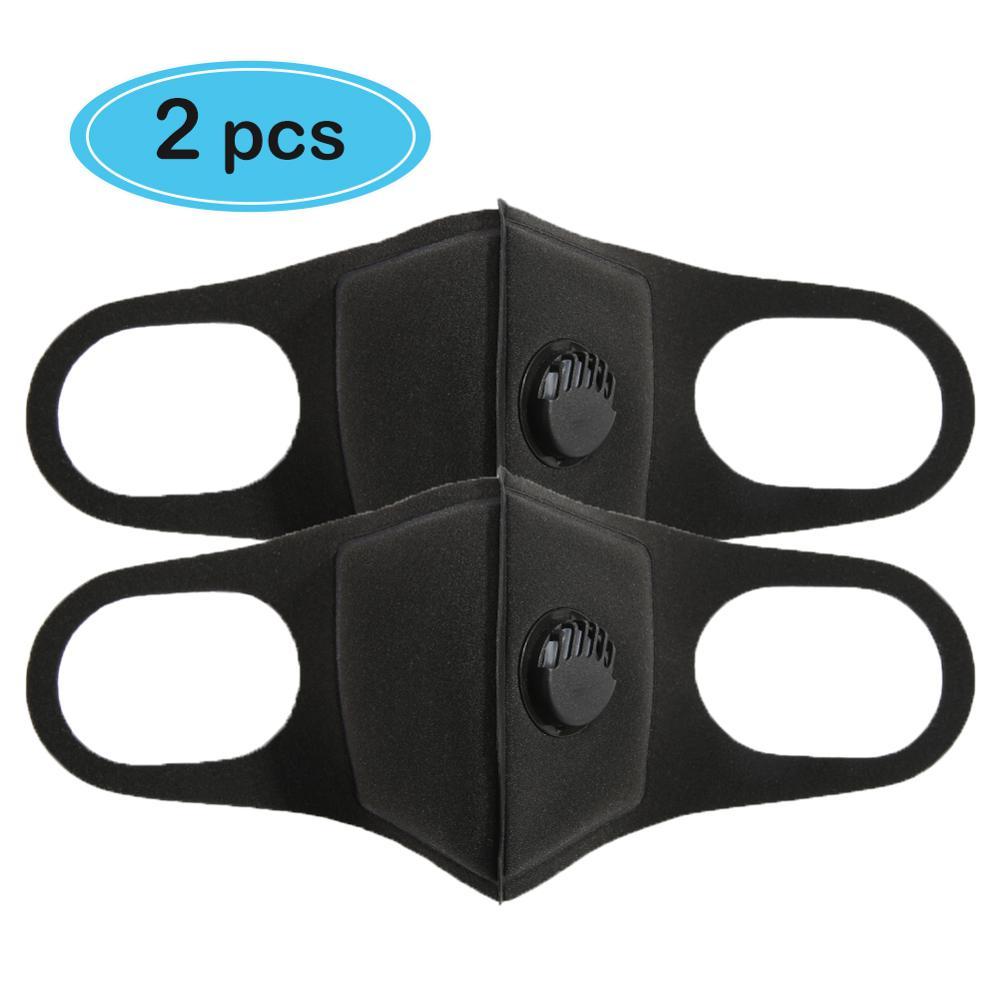 2Pcs/lot PM 2.5 Sponge Masks Respirator 2 Breath Valve Mouth Face Mask PM 2.5 Mouth Cover