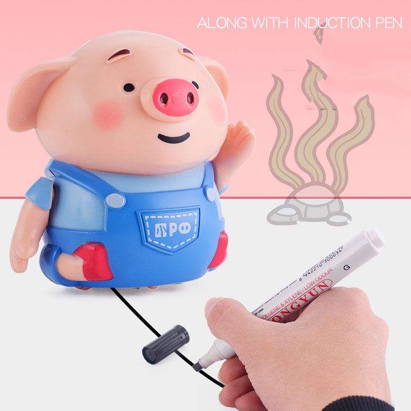 Interest Sensing Piggy Toys  Piglet Induced By Scribing And Pen  Rechargeable  Cute Cartoon Simulation Car Toys