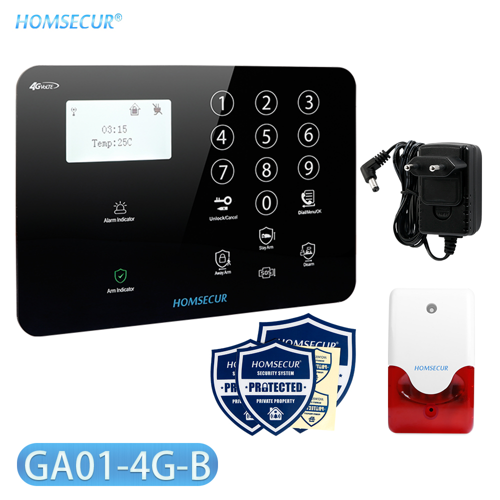 HOMSECUR DIY Wireless&wired 4G/GSM LCD Burglar Intruder Alarm System+IOS/Android APP For Home Security GA01-4G-B/W
