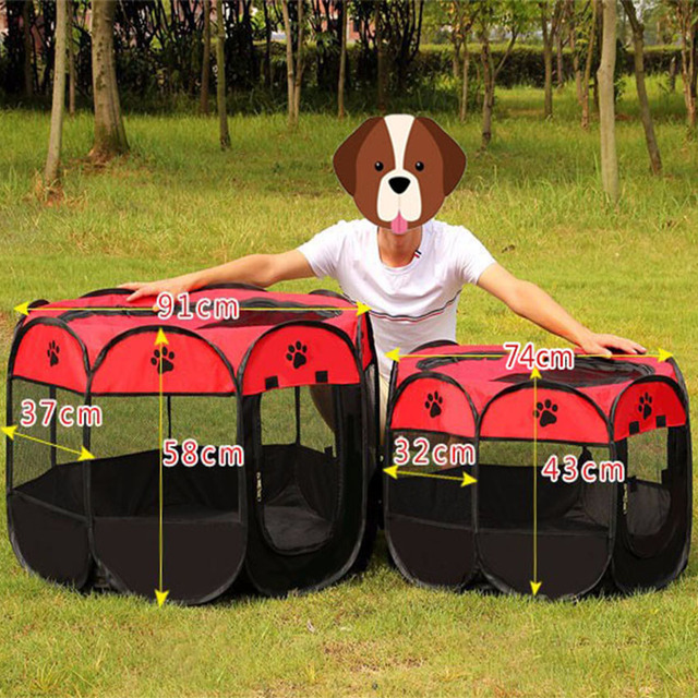Pet Cage Portable Pet Tent Folding Dog House Cage Cat Tent Playpen Puppy Kennel Easy Operation Octagonal Fence Large Dogs House 6