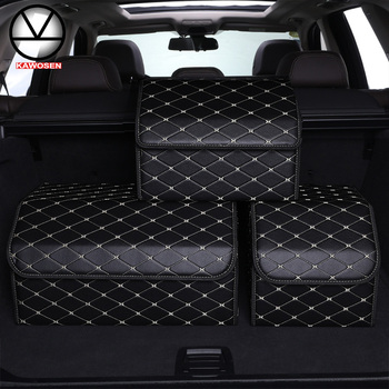 KAWOSEN Car Trunk Organizer Storage Bag PU Leather Box Foldable Stowing Tidying Universal Stuff HDTO06