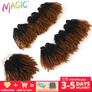 """Image 1 - 14""""Inch Ombre Hair Blonde Afro Kinky Curly Hair Weaving 7pcs/Lot Synthetic Hair Extensions 6Bundles With Closure For Black Women"""
