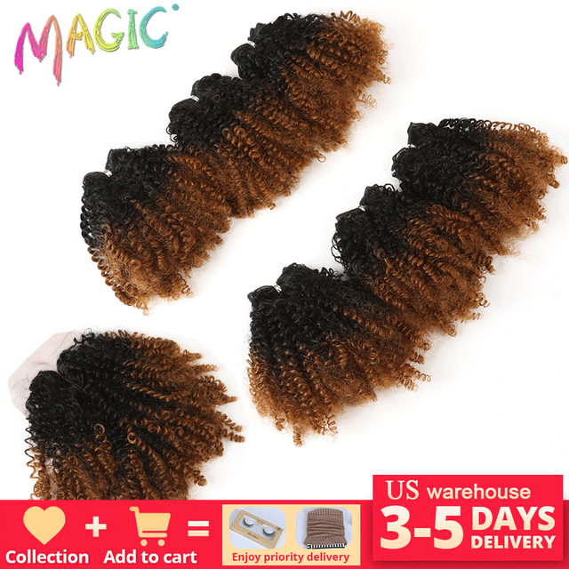 """14""""Inch Ombre Hair Blonde Afro Kinky Curly Hair Weaving 7pcs/Lot Synthetic Hair Extensions 6Bundles With Closure For Black Women"""