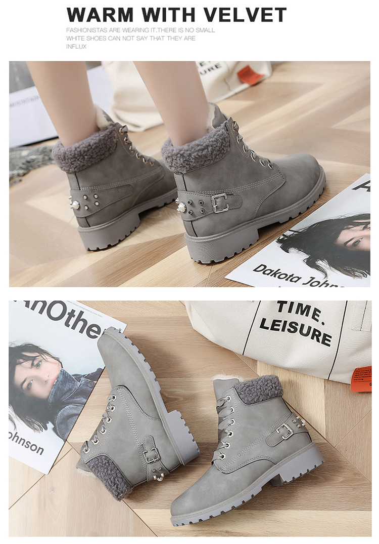 Size 43 women winter boots 2019 New Arrival Fashion Suede Women Snow Boots Metal rivet Warm Plush Women's Ankle Boots Flat shoes 41