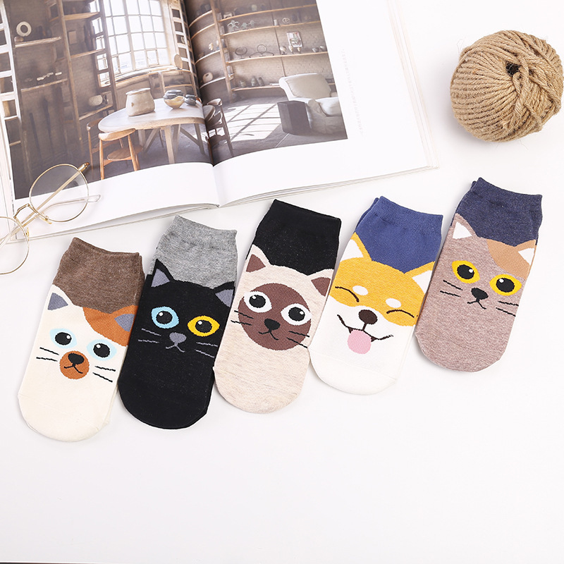 PEONFLY 1 Pair Cartoon Women Socks Funny Cat Dog Printed Cotton Invisible Socks Cute Animal Girl Ankle Socks Harajuku Socks
