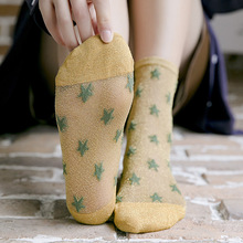 New women's summer thin casual silk socks with thin material 5 pair