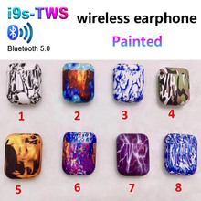 i9s tws Wireless Bluetooth Earphone Painted Colorful Pattern Sport Headsets with Charging Box